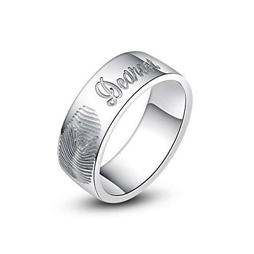 Amazoncom Fingerprint ring fingerprint engraved band ring