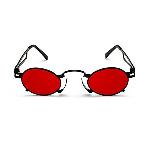 femmes Steam soleil hommes étui pour Lens Punk rétro de de Cercle inspiré Lunettes soleil Rouge Chasingdream Vintage Cadre avec Lunettes lunettes en Round métal Pdqv8qB