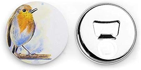 Abrebotellas, Pajarito pintado en papel Abridores de vino, Imanes de nevera, Abrebotellas con una sola mano Sacacorchos 2 piezas