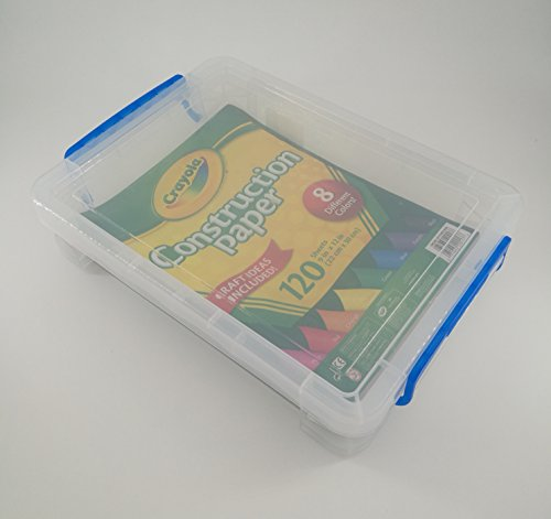 Crayola Plastic Box - Crayola Construction Paper with Super Stacker Clear Plastic Document Box Bundle