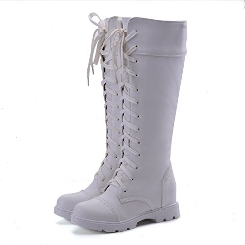 top Odomolor Closed Toe Round White Boots Soft heels Low Lace Material Mid up Women's gZqgTP