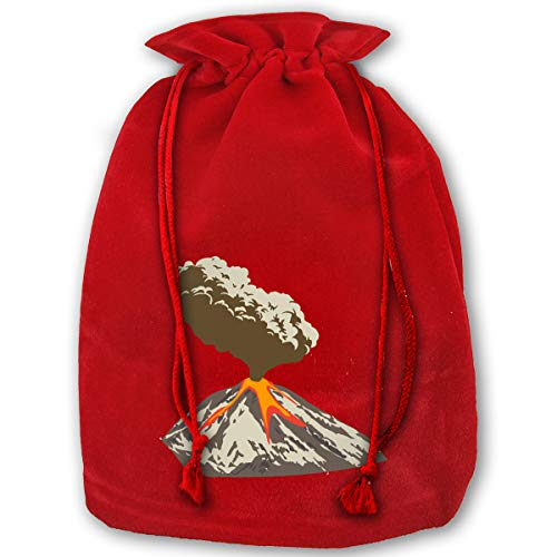 LOUXIO 3D Active Volcano Christmas Drawstring Gift Bags Santa Storage Sack Backpack for Party Favors Candy Delicate Printing