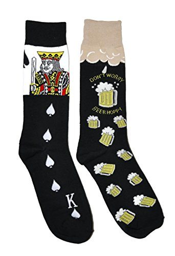 Mens Novelty Trouser Socks 2 Pair Bundle FineFit Themed Pattern (Poker & Beer (Beer Hppy BL)),Poker & Beer (Beer Hppy (Poker Stockings)