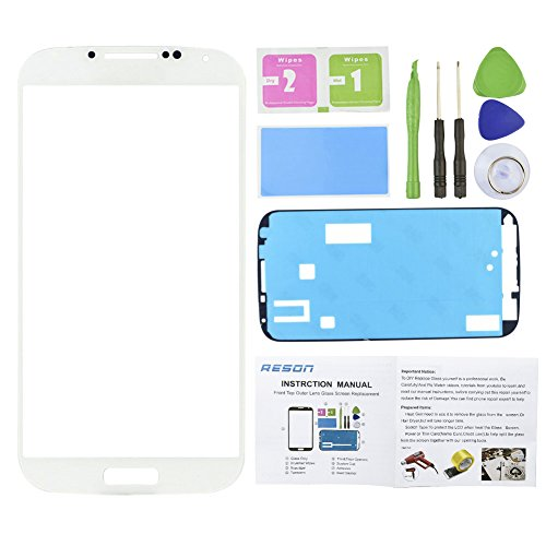 Reson® White Front Screen Lens Glass Replacement Kit for Samsung Galaxy S4 SIV I9500 I337 L720 M919 I545+tools Kit+dry/wet/dust Cleaning Paper+adhesive Sticker Tape (Tmobile Galaxy S4 Lcd Replacement)