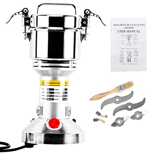 Homend High Speed 350g Electric Grain Mill Grinder Powder Machine Spice Herb Grinder 1500W 70-300 Mesh 28000RPM Stainless Steel Commercial Grade for Kitchen Herb Spice Pepper Coffee 350g