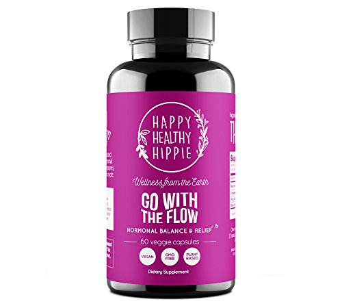 GO WITH THE FLOW Menopause & PMS Relief – 100% Plant-Based Supplement to Support Hormone Balance For Women – Hot Flashes, Mood Swings, Cramp, Bloating – Contains 4 Powerful Herbs, Non-GMO, 60 Veg Cap