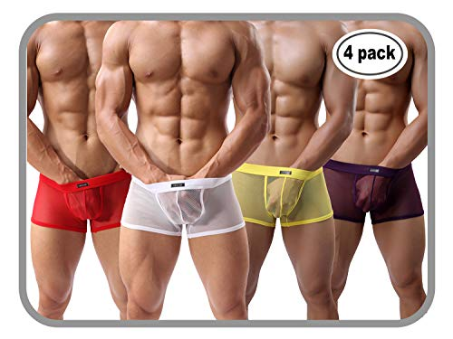 Short Rise Mens Low Boxer (Men's Boxers Sexy Underwear Mesh Breathable Gay Low Rise Boxer Briefs(36Hong,XL))