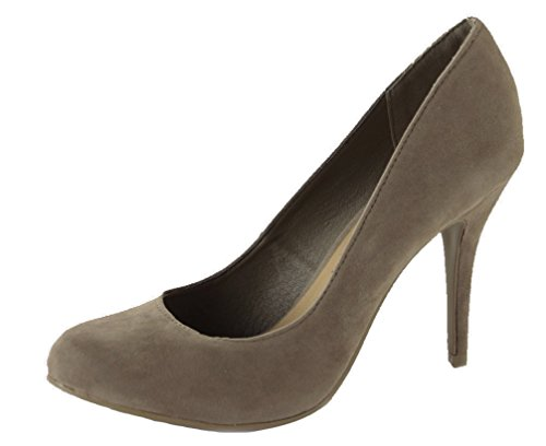 WOMENS LADIES LOW MID HIGH HEEL POINTED COURT SMART PARTY OFFICE WORK STILETTO SHOES PUMPS SIZE Style 7 - Mocha 8NW9dnw0r