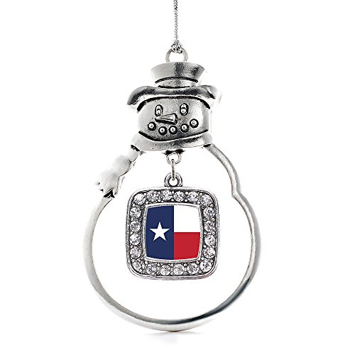 Inspired Silver - Texas Flag Charm Ornament - Silver Square Charm Snowman Ornament with Cubic Zirconia Jewelry]()