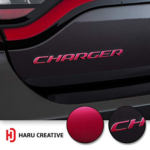 (Haru Creative - Rear Bumper Trunk Emblem Overlay Vinyl Car Decal Sticker Compatible with and Fits Dodge Charger 2015 2016 2017 2018 2019 - Metallic Matte Chrome Pink)