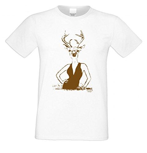 T-Shirt mit Motiv - Wiesn Hirsch Lady - Lustiges Outfit auch als Geschenk passend zum Oktoberfest in Weiss 4