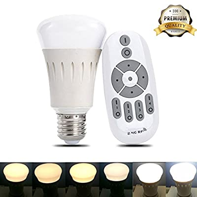 iThird Remote Control Smart LED Light Bulbs Dimmable Warm White Cool White to Daylight Adjustable Color Temperature Indoor/Outdoor Lighting Lamp 8W E26