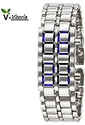 Silver Metal Band Mens Iron Samurai Style Lava Digital Sport Watch Faceless Blue LED-SLBL