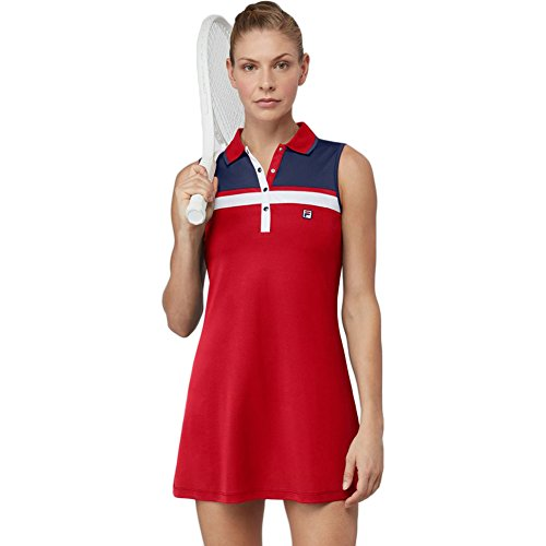 Fila Women's Heritage Polo Dress, Chinese Red, Navy, White, L