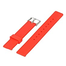 Xuexy 14mm Pebble Time Round Rubber Silicone Watch Band Strap Replacement Bracelet Light Weight Comfortable Simple,Red