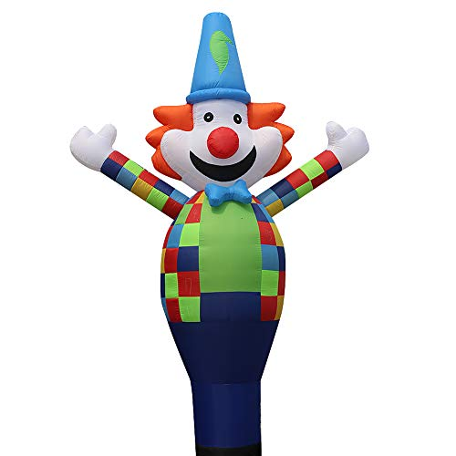 13ft 3D Air Sky Clown Inflatable Tube Sky Puppet Tube Man Dancer Air Puppet Wind Flying Dancer (Color Clown) (Clown Inflatable)