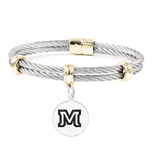 (Montana State Bobcats Round Charm Bracelet | Stainless Steel Magnetic Clasp Bangles)