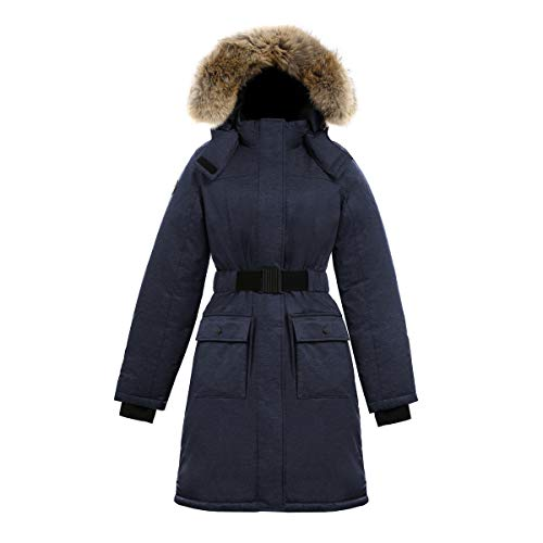 Triple F.A.T. Goose SAGA Collection | Estelle Womens Hooded Goose Down Jacket Parka with Real Coyote Fur (Small, Navy)