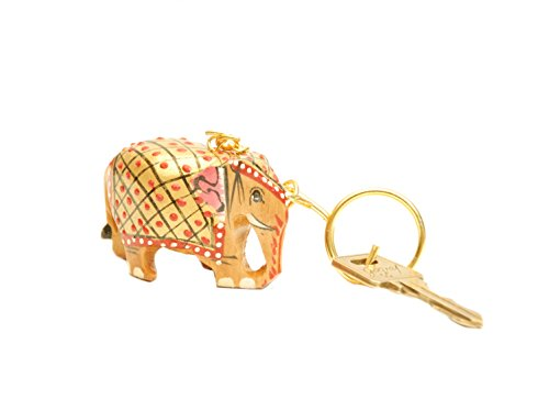 Hand Carved Wooden beautifully painted Elephant Key Ring, keychain, Key Holder Keychain, indian handicaft for gift and home décor