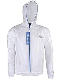 Ultra Lightweight Rain Jacket Saftey Outdoor Waterproof Rain Jacket for Men/Women, Reflective Raincoat White