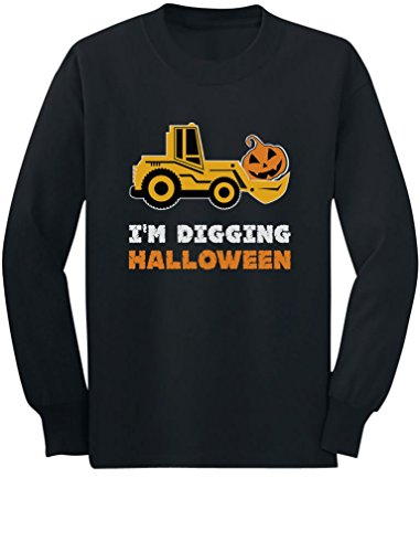 Toddler Halloween Shirts (I'm Digging Halloween Pumpkin Face Tractor Toddler/Kids Long sleeve T-Shirt 3T Black)