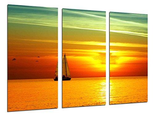 Cuadro Moderno Fotografico Puesta de Sol, Atardecer Espectacular en el Mar, Barca de Vela, 97 x 62 cm, Ref. 26524