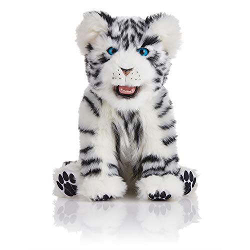 WowWee Alive - Interactive Companion Pet - Playful White Tiger Cub Baby - Plush Cuddly for Young and - Baby Tiger White