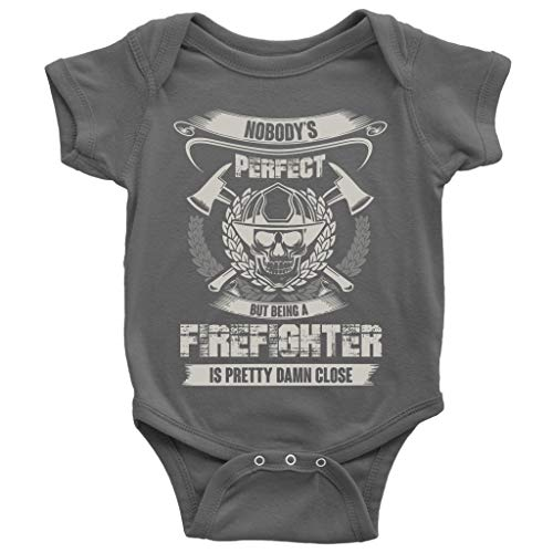 Nobody's Perfect Baby Bodysuit, Being A Firefighter Cute Baby Bodysuit (6M, Baby Bodysuit - Dark Gray)