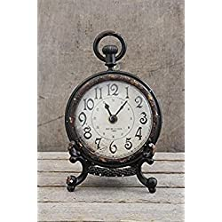 Pewter Table Clock Pocket Watch Style W/ Stand Distressed Black Finish Country Home D