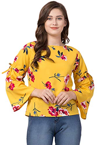 Le Suzaki Casual Bell Sleeve Floral Print Women Multicolor Top