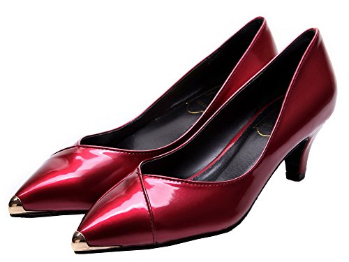 Shoes Pumps Heels WeiPoot Patent Leather Pull Women's Claret Kitten On Solid fq7gaTw