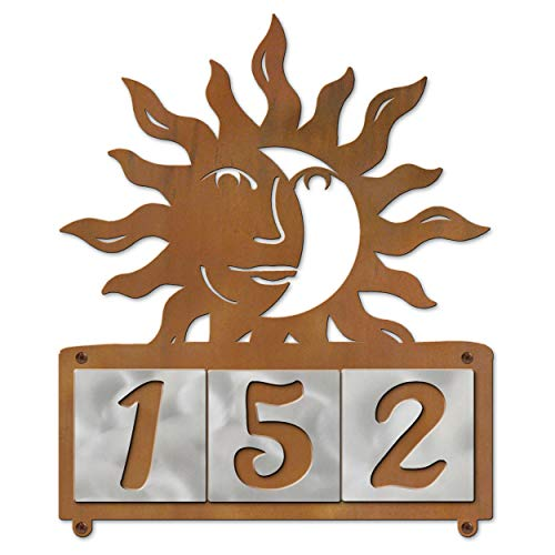Cold Nose Creations Sun Face Eclipse Rustic Metal Plaque with Horizontal Steel Tile Custom House Numbers - 3 Digits