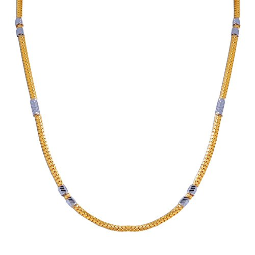 JewelsForum Round Link 22K/18K Yellow Gold Rope Chain With White Gold Etched Design Tubes 18
