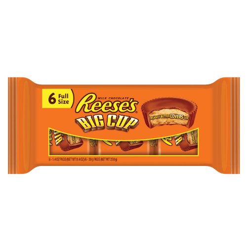 REESE'S BIG CUP Peanut Butter Cup, Milk Chocolate Covered Peanut Butter Cup Candy, 8.4 Ounce Package (Pack of -
