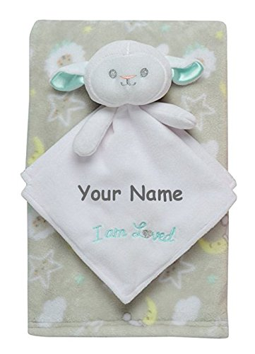 Personalized Baby Starters Lamb Baby Snuggle Buddy Blanket a
