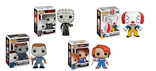Funko Pop Horror Classic Figure Bundle Set- 4 pc: Chucky, Pennywise, Pinhead and Michael Myer