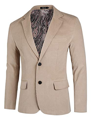 TATT 21 Men Casual Blazer Notch Lapel Two Button Cotton Corduroy Sport Coat M ()