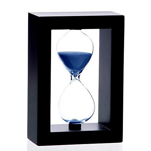 Bellaware 60 Minutes Hourglass, Black Wooden Frame Blue Sand Timer