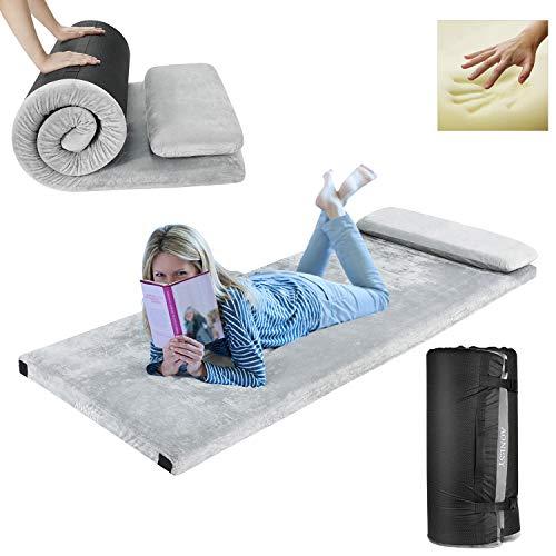 "AONESY Memory Foam Camping Mattress, Roll-Up Floor Mattress for Sleep Guest Bed Car Mattress Sleeping Pad for Camping Beds for Adults 75""x30""x3"",Waterproof/Lightweight with Pillow & Travel Bag"
