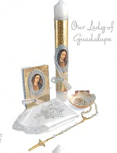 English Handmade Christening/Baptism Set For Girl, Boy Virgencita Virgen : Candle, Prayer Booklet, Dry Cloth, Sea Shell, and Rosary -Bautizo Religious Gift