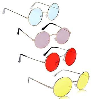 Phenomenal Round Unisex Sunglasses pack of 4 (Multicolor)