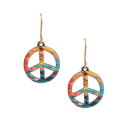 - Spinningdaisy Folk Art Colorful Peace Sign earrings Yellow Green
