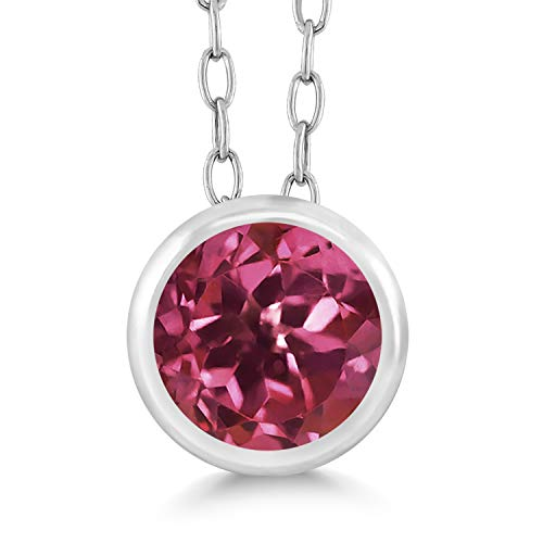(Gem Stone King 0.50 Ct Round Pink Tourmaline 925 Sterling Silver Pendant With Chain)