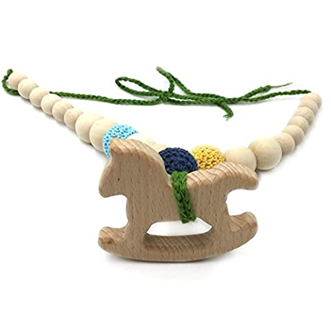 Amyster Crochet Beads Baby Teether Necklace Beads Safe Chunky Teething Necklace Wooden Trojan Horse Wooden Crochet Nursing Teether Baby (Horse Tooth Necklace)