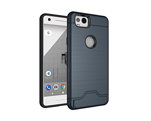 Price comparison product image Google Pixel 2 Case, DAMONDY Card Slot Holder Dual Layer Shock Absorption Protective with Card Holder and Kickstand Wallet Case Heavy Duty Bumper for Google Pixel 2-navy