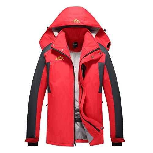 Spmor Men's Ski Jacket Waterproof Windproof Mountain Winter Coat Rain Hooded Coat