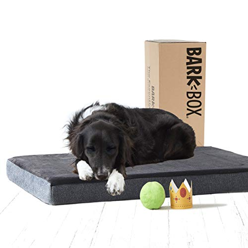 BarkBox Memory Foam Dog Bed Multiple Sizes Colors Plush Orthopedic Joint-Relief, Machine Washable Cover Waterproof Lining Includes Squeaker Toy