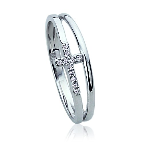 14K White Gold CZ Pave Double Band Sideway Cross Ring (Size 5 To 9)