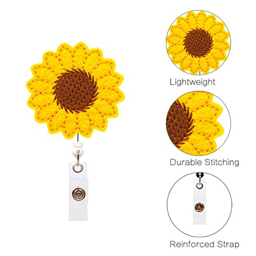 Maikouhai Sunflower Badge Reel Holder Accurate Stitching Strap Telescopic Retracting Clip Keychain Key Chain for Keys, ID Badge Holder, Credit Cards, Working Badges, Max 24 inch Retractable Length (Letter Opener Video Game)