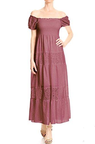Anna-Kaci Womens Off Shoulder Boho Lace Semi Sheer Smocked Maxi Long Dress, Pink, Medium (Smocked Dresses Empire)